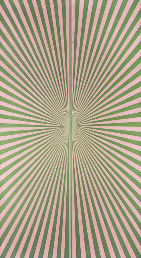 Mark Grotjahn-Untitled (Blush Pink And Kelly Green Butterfly 45.13)-2013