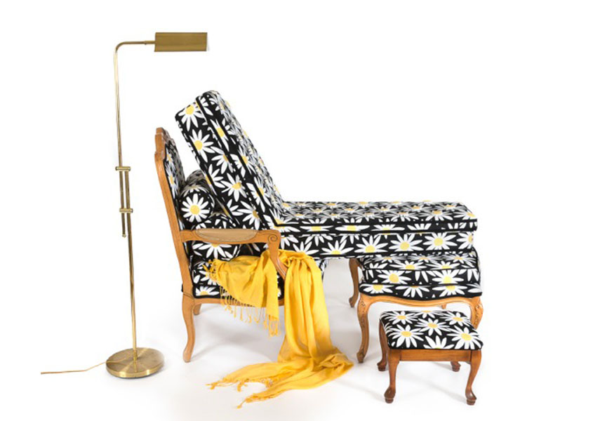 Mark  Mitchell, Madame Recamier d'Betsey 2014, installation with daisy-print slipcovers, chaise lounge, ottoman, lamp, and blanket