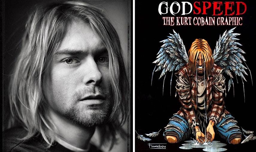 Mark Seliger - Kurt Cobain – image via profotocom (Left) Flameboy - Kurt Cobain Graphic Cover - image via dezskinncom (Right)