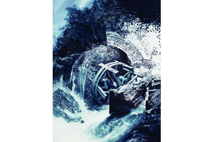 Mark Tansey - Repairing the Wheel, 1996