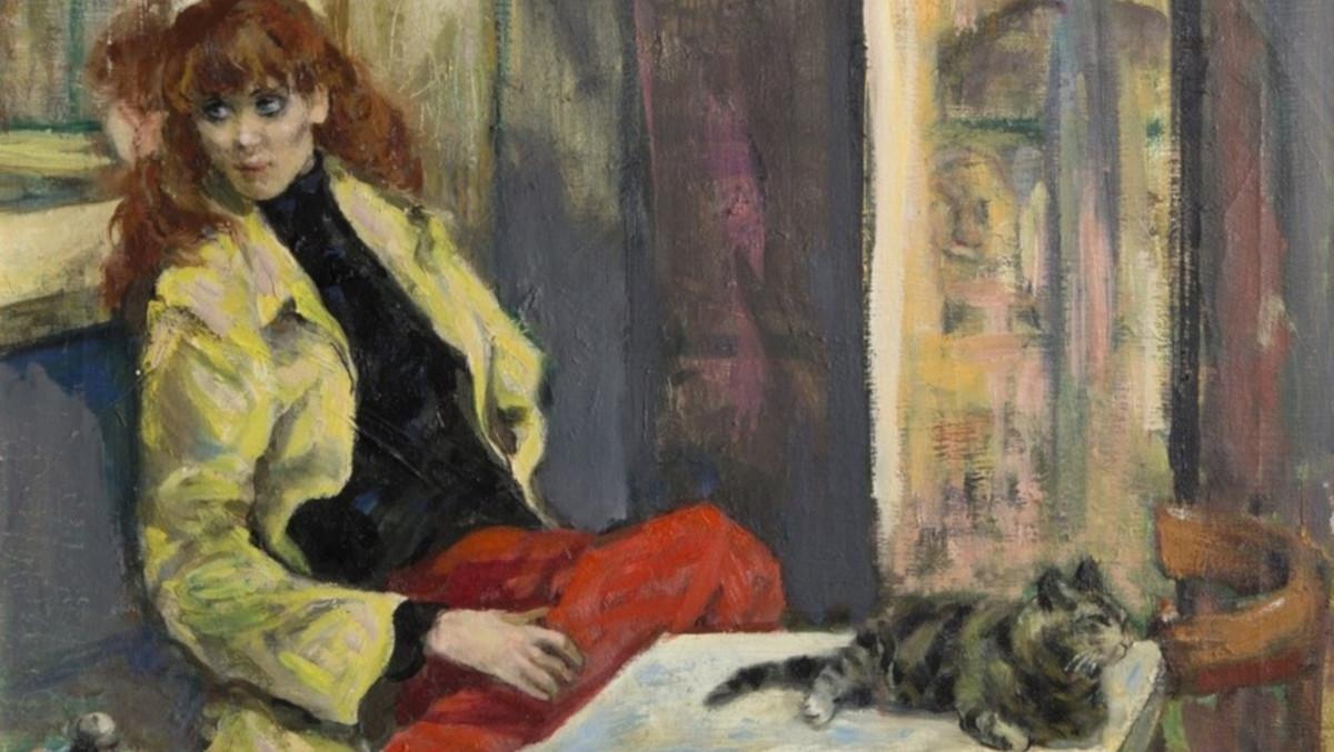 Marshall Goodman - Woman in Yellow Jacket with Cat, ca 1960 (detail)