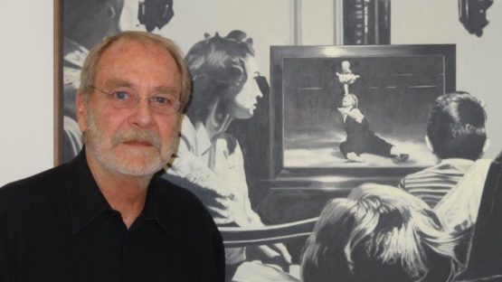 Martin Mull with his painting, State of the Union, which gives its name to the show at Samuel Freeman Gallery