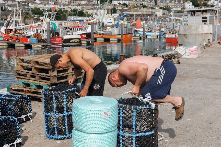 Preparing lobster pots, Newlyn Harbour, Cornwall, England, 2018