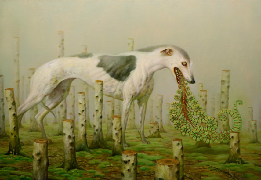 Martin Wittfooth - Shaman I, 2014 oil painting contact page canvas martinwittfooth book size