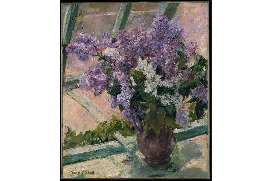 Oil on canvas painting depicting a bouquet in a greenhouse near the artist's studio