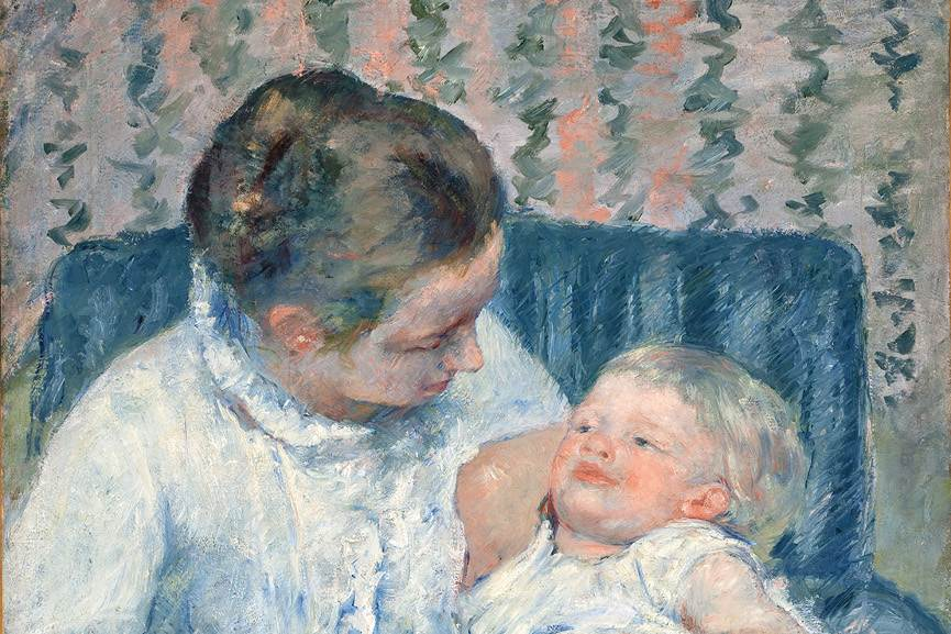 Mary Cassatt - Mother About to Wash Her Sleepy Child, detail