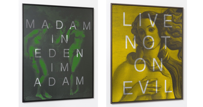Massimo Agostinelli - MADAM IN EDEN IM ADAM, 2014, (left), installation view / Massimo Agostinelli - LIVE NOT ON EVIL, 2014, (right), installation view