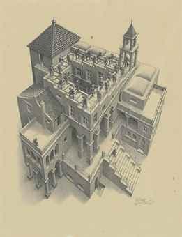 Maurits Cornelis Escher-Ascending and Descending-1960