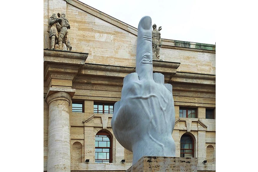 Maurizio Cattelan (born in 1960, italy) - L.O.V.E., 2010, on view in milan, italy