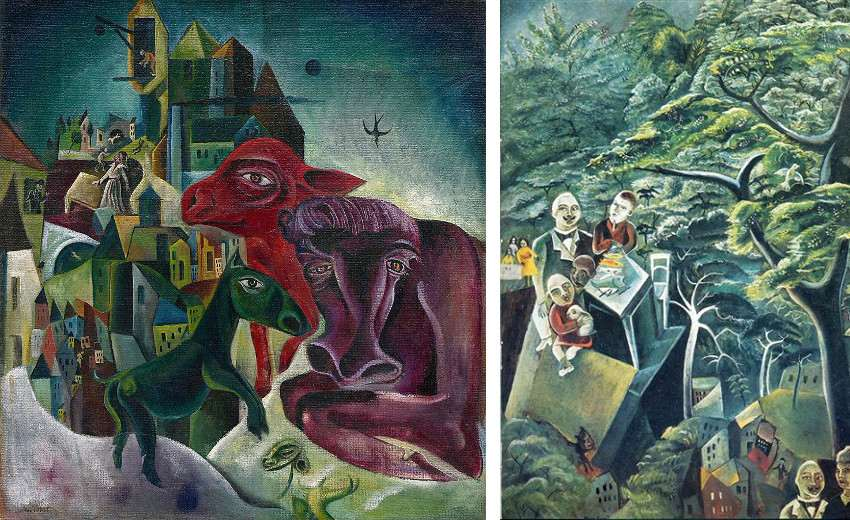 max ernst's City with animals, 1919 (Left) / Immortality, 1913 (Right)