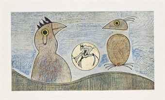 Max Ernst-Deux Oiseaux (Blue)-1975