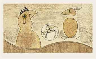 Max Ernst-Deux Oiseaux (Ochre) & Deux Oiseaux (Blue)-1975