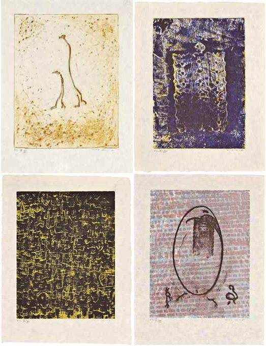 Max Ernst-Four plates, from Aux Petits Agneaux-1971