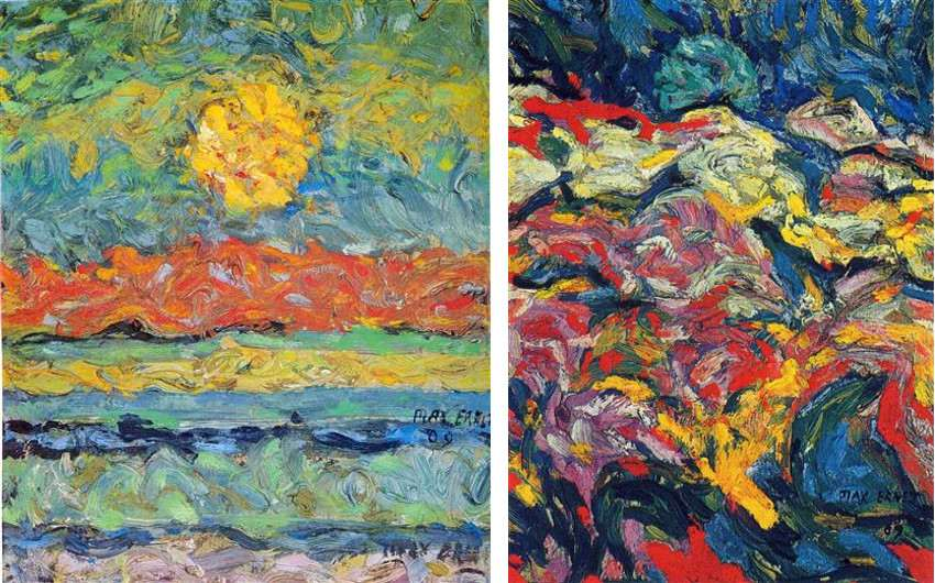 max ernst's Landscape with Sun, 1909 (Left) / Untitled, 1909 (Right) use collage 1921 articles