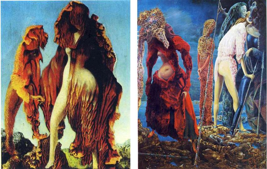 Max Ernst - The Antipope, 1942 (Left) / Wizard Woman, 1941 (Right) - American period New York terms