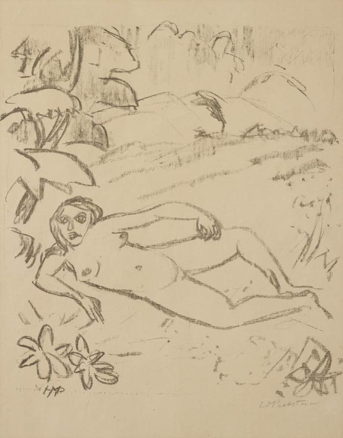 Max Pechstein-Akt in den Dunen (Woman in the Meadow), plate 7 from Paraphrasen zur Samlandischen Ode-1917