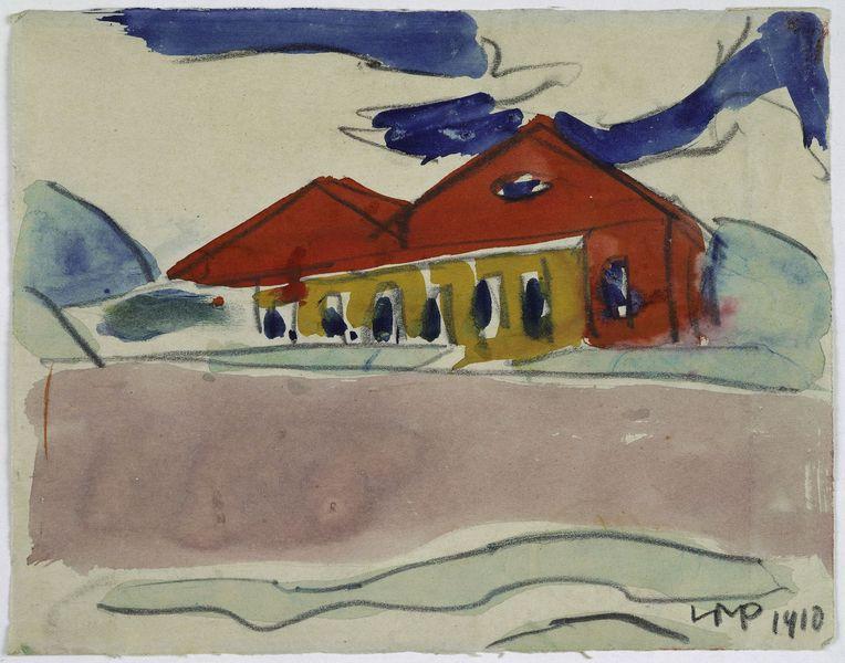 Max Pechstein - Haus am Strand - Badehaus, 1910