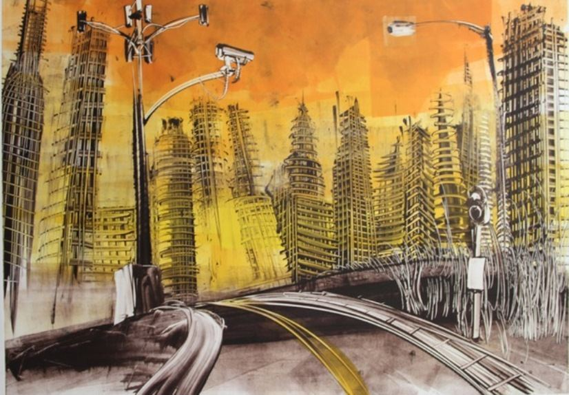 Mear One - Lost Highway. Oil Based Ink on Arches Rives Paper, Monotype, 44″ x 30″