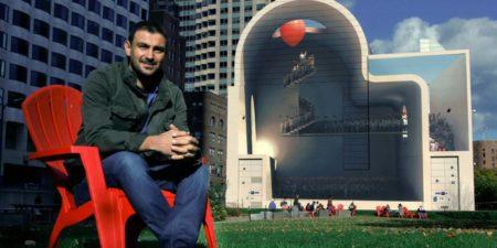Mehdi Ghadyanloo - Portrait of the artist in front of his work