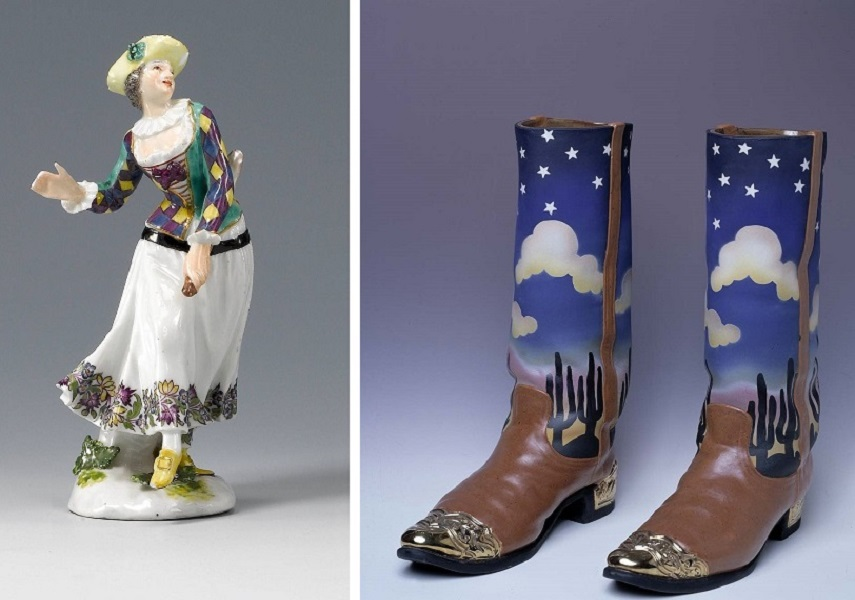 Meissen porcelain-Dancing Harlequine from the Duke of Weissenfels series, 1747- Private Collection William Wilhelmi-Cowboy Boots, 1980- Smithsonian American Art Museum.Read from Smithsonian site. In the process of making potters used glazes.