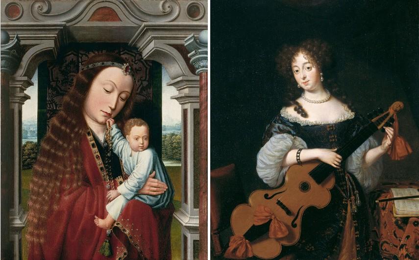 Meister vom Heiligen Blut - Maria mit Kind in architektonischer Rahmung, ca 1520, Michiel van Musscher - Bildnis einer jungen Dame mit Viola da Gamba, 1677