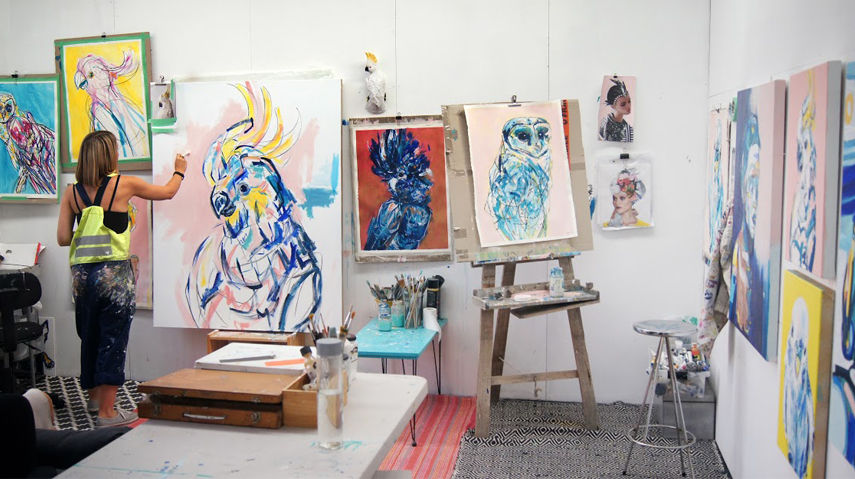 Melbourne Bluethumb artist working in her studio