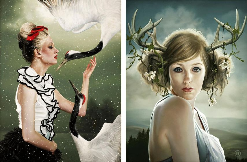 Melissa Forman - She Who Flies With Cranes (left), She Who Embodies the Deers Peaceful Nature (right)