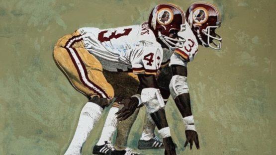 Merv Corning - Washington Redskins Running Backs (Larry Brown and Charlie Harraway) - detail
