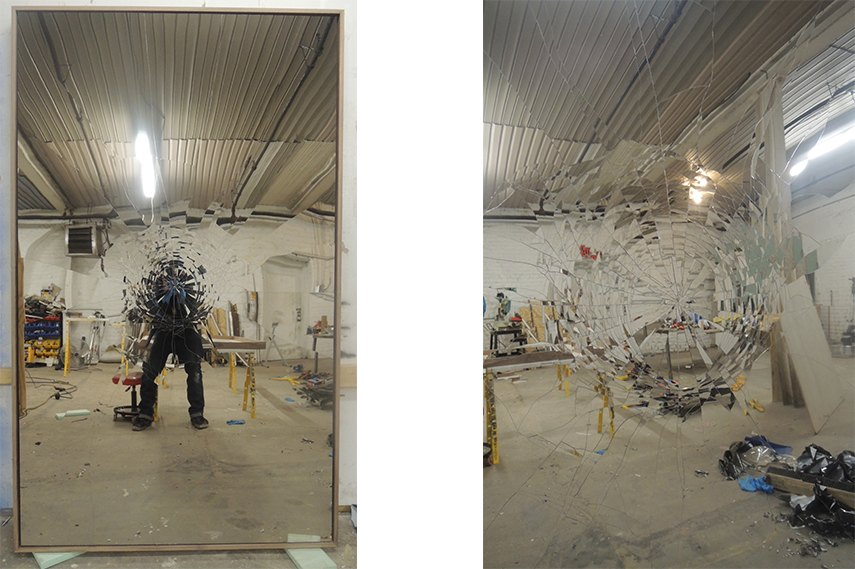 Michael Brown recreates intricate patterns of a broken mirror and conveys them into stainless steel installations