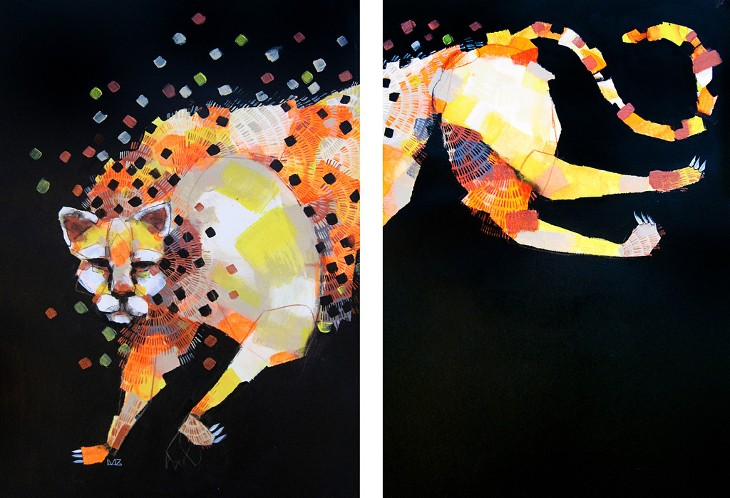 Michael Cain - Running Cheetah (diptych), 2014 - Courtesy of Vertical Gallery