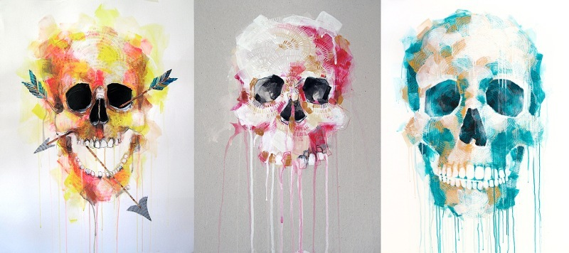 Michael Cain - Skull (Shot), 2014, Skull with Gold & Pink, 2015 and Skull with Blue, 2015 (respectively) - Copyright Michael Cain