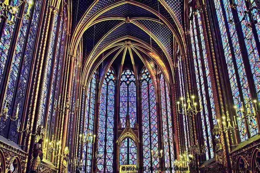 Michael D Hill paint Jr Sainte Chapel Stained glass Interior via paint