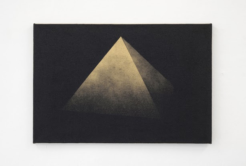 Michael Hakimi - Pyramide 1, 2014, Lacquer and spray paint on jute, ca 50 x 71 cm