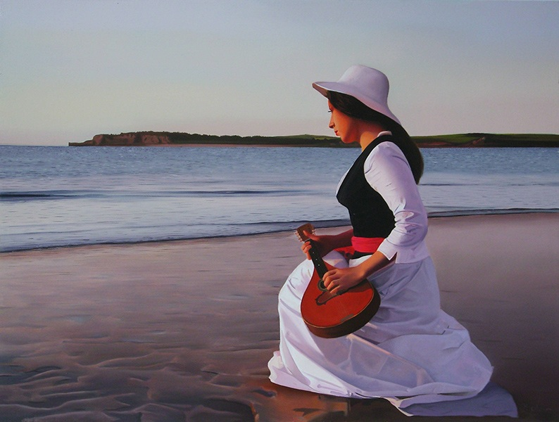 paintings edition oil drawings prints Michael de Bono - Mandolin Player, 2011