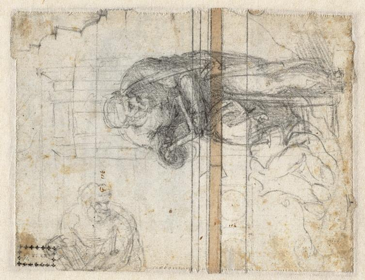 Michelangelo Buonarroti - Studies of a prophet or evangelist
