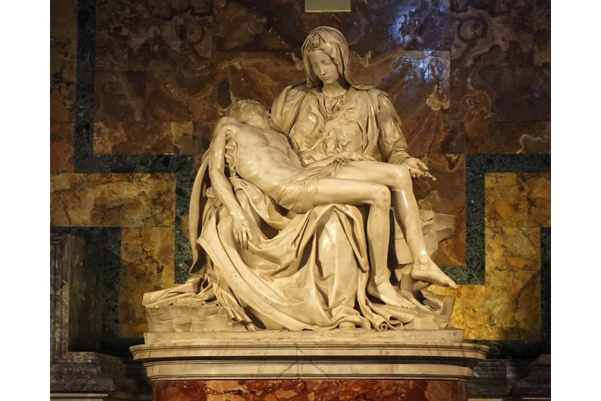 Michelangelo Buonarroti - Pietà, 1498–1499, housed in St. Peter's Basilica, Vatican City - one of Michelangelo's best known works of Virgin Mary and Jesus, commissioned by Cardinal Jean de Bilhères