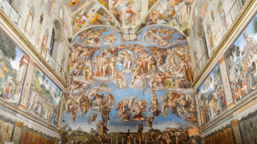 Michelangelo Buonarroti, The Last Judgment, the Renaissance masterpiece on the ceiling of the sistine chapel