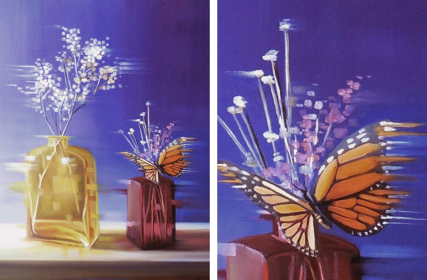 Michelle Condrat - Violet and gold (left), Detail (right)