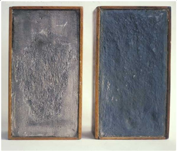 Michelle Stuart - Earth Diptych from 1969 made out of earth, structolite and wood
