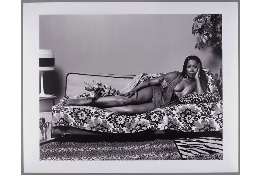 Mickalene Thomas - Madame Mama Bush in Black and White, 2007