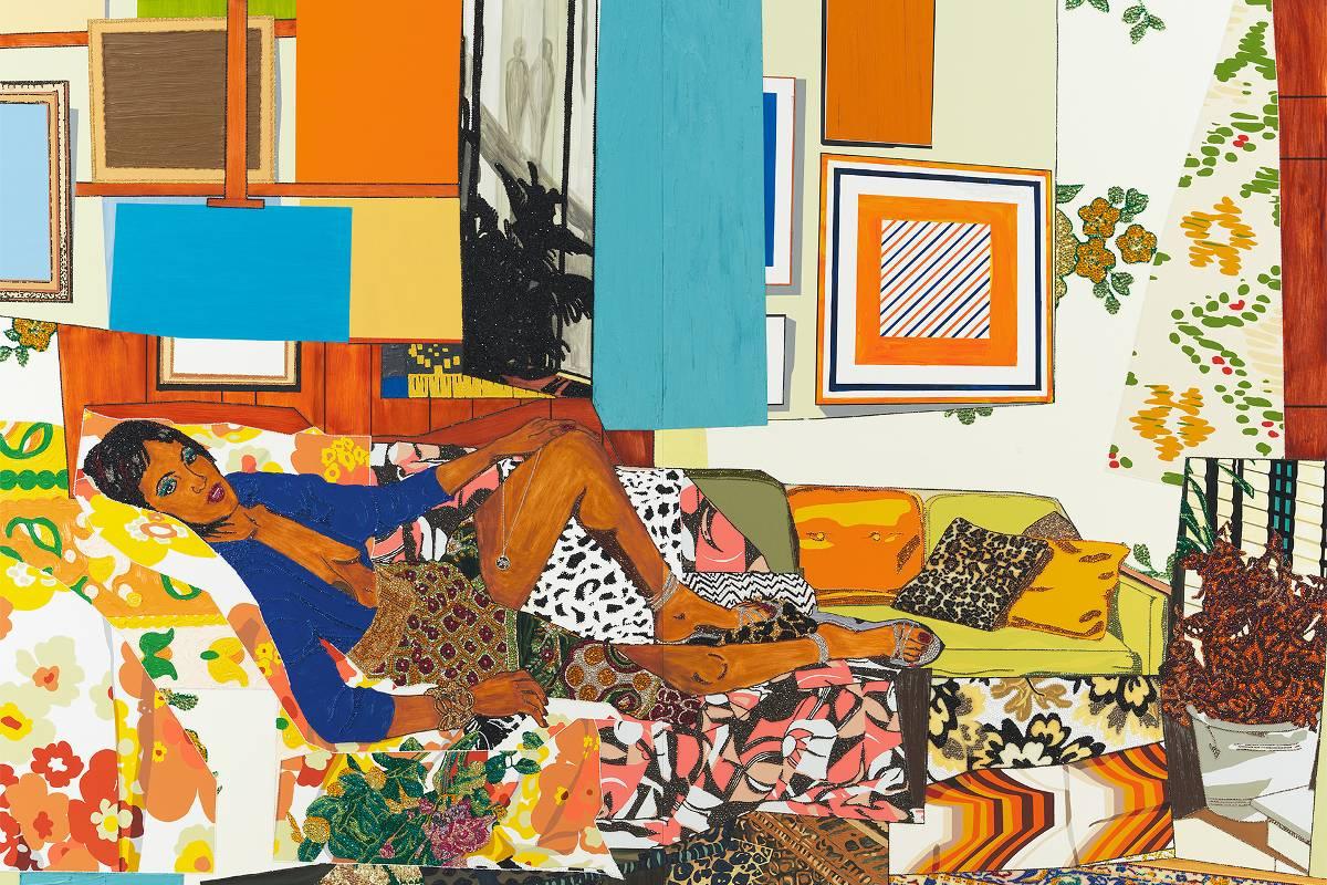 Mickalene Thomas - Tamika sur une chaise longue avec Monet, 2012