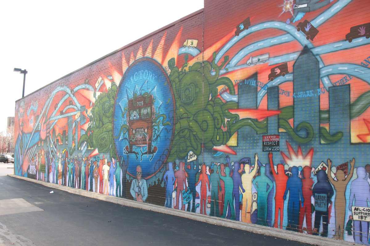Mike alewitz the city at the crossroads of history mural for Chicago mural group