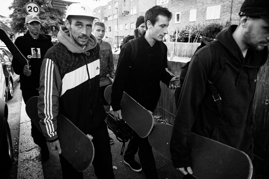 Mike O'Meally - Palace Skate Team (Lucien Clarke, Chewy Cannon, Blondey McCoy, Jack Brooks, Danny Brady), Tottenham Hale, 2016