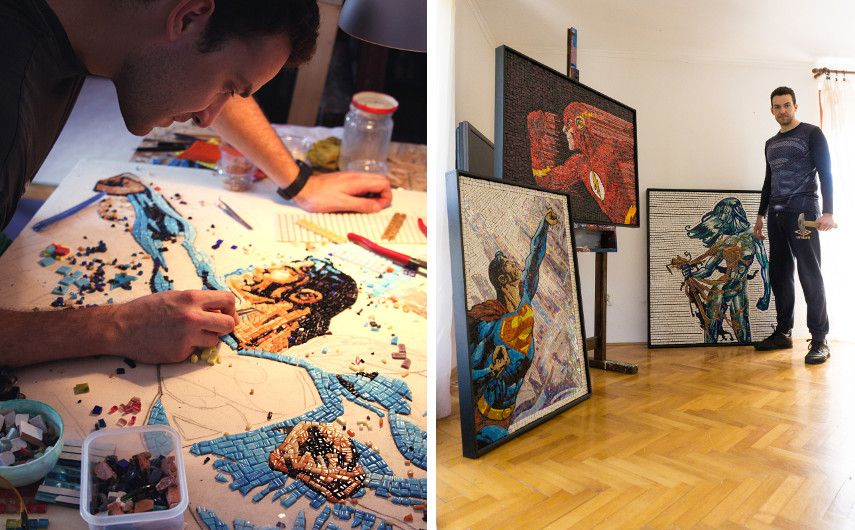 Two photos of the artist with his work