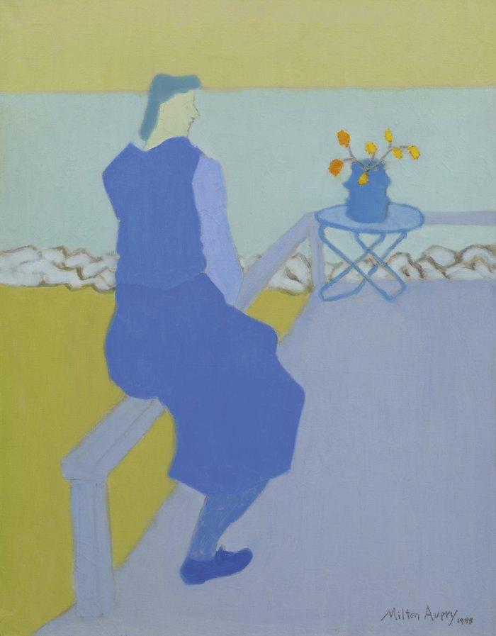 Milton Avery-Blue Figure - Blue Sea-1945