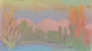 Milton Glaser - Pink and Blue Landscape