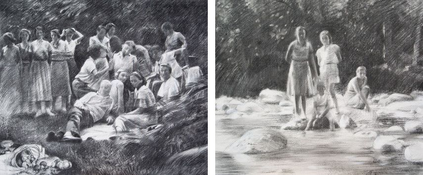 Miquel Wert - 16 figures Homage to Manet, 2015 (Left) / Regards figés, 2015 (Right)