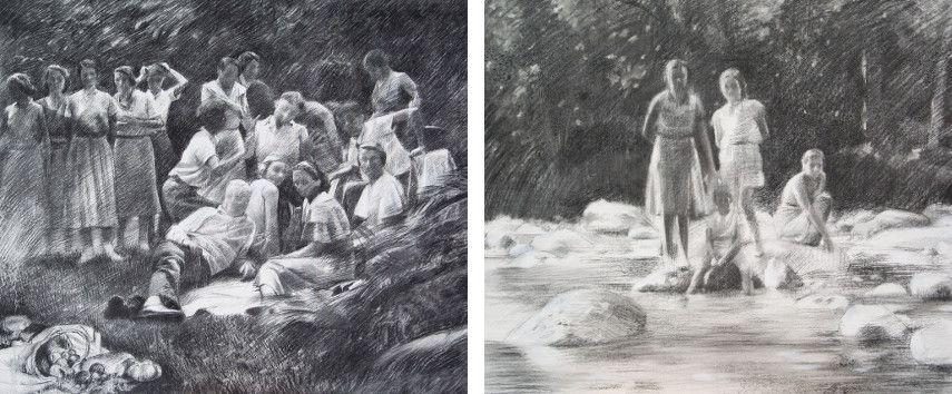 Miquel Wert - 16 figures Homage to Manet, 2015 (Left) / Regards figés, 2015 (Right)