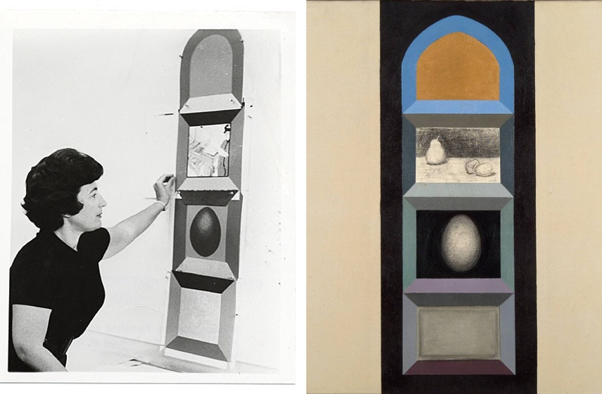 Miriam Schapiro - Painting one of her Shrine series (detail) (left), Shrine (for R.K.) (detail) (right) 1963, photo credits www.wikiart.org
