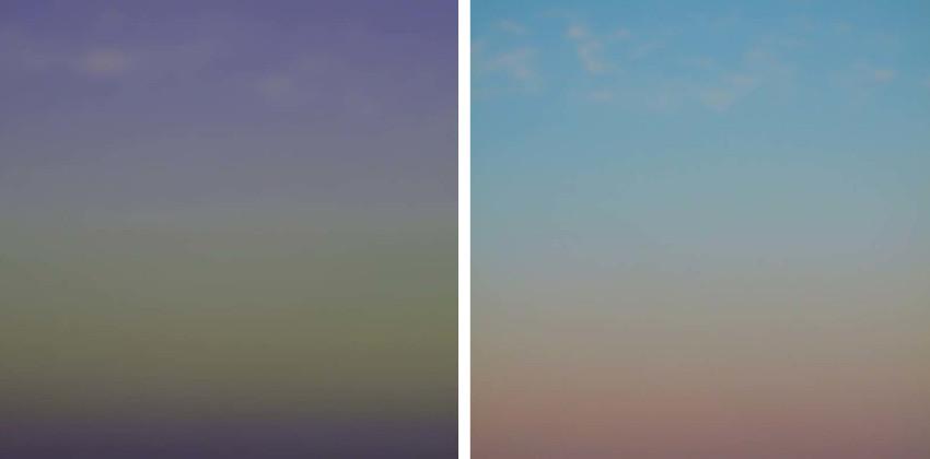 Miya Ando - Evening Cartagena, 2014 (Left) / Evening Caramel, 2014 (Right)